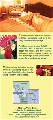 Madrona Valley Bed & Breakfast - Brochure Back